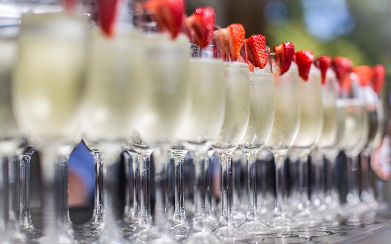luxury wedding venue cheshire champagne and strawberries