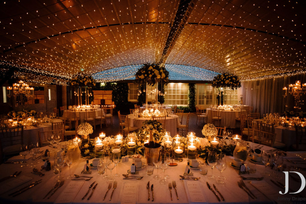 Wedding reception in marquee with fairy lights
