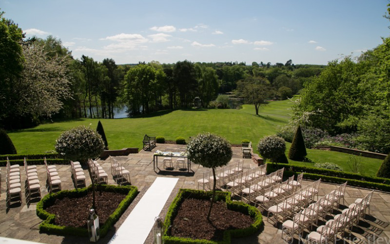 Wedding ceremony set up outside in the summer