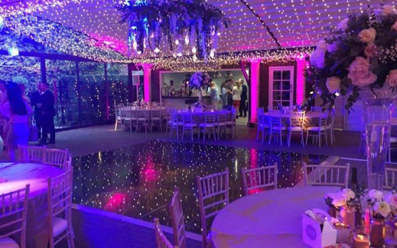 wedding venue set up with fairy lights