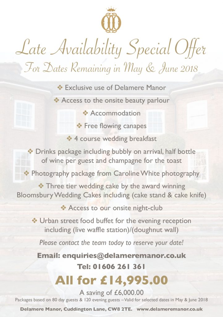 Cheshire Wedding Venue offer