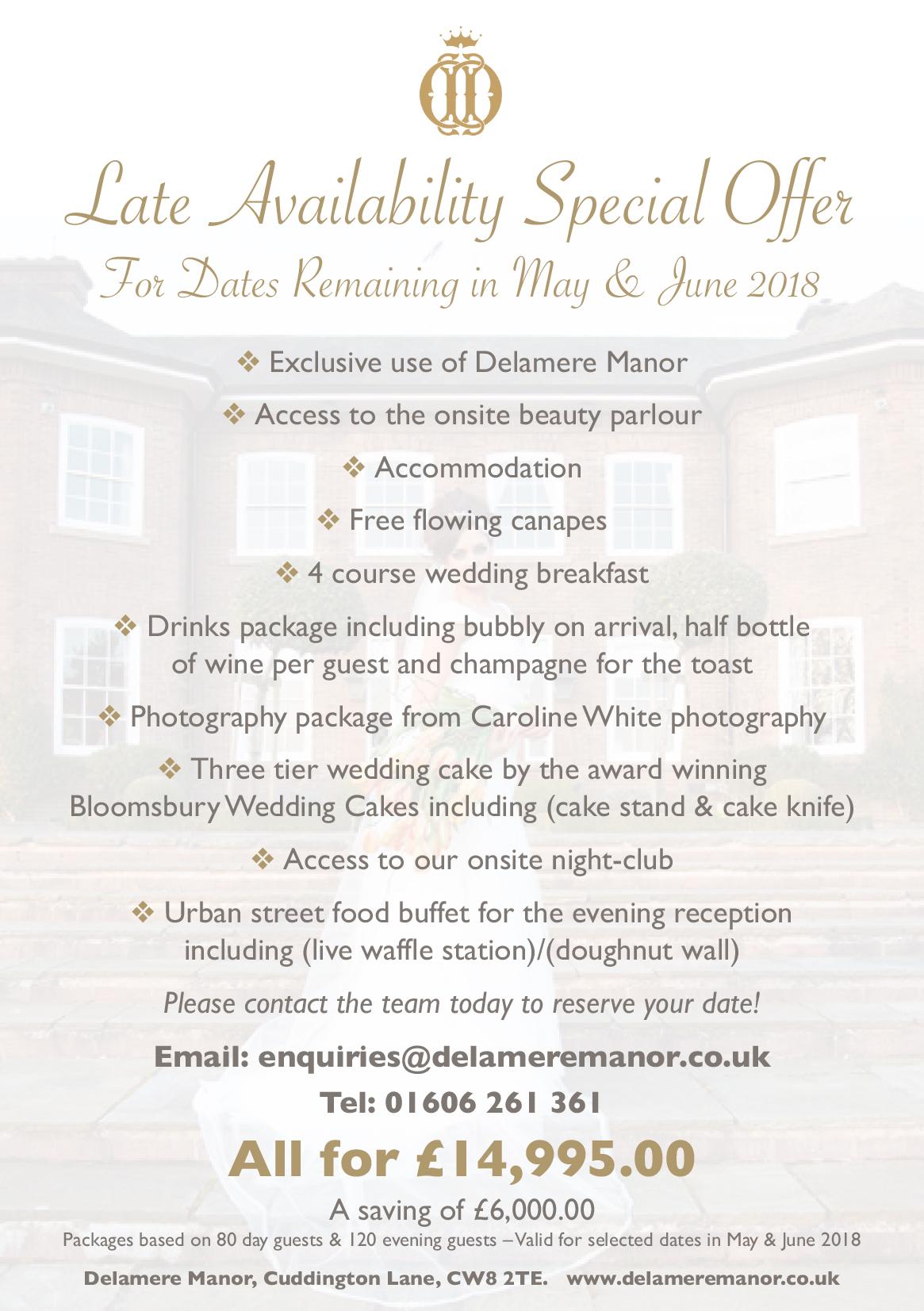 Cheshire Wedding Venue offer