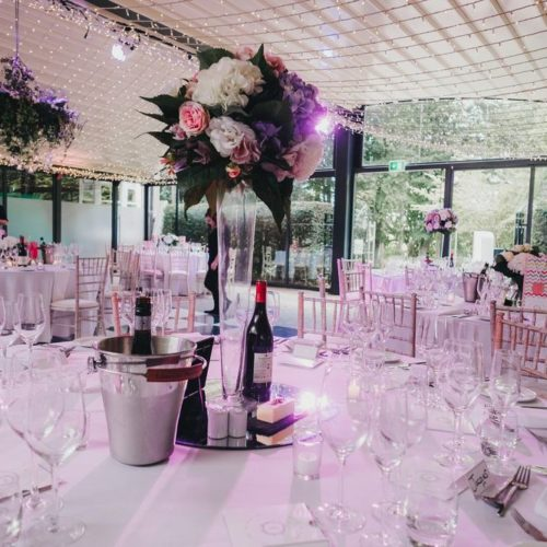 Wedding table prepared with wine