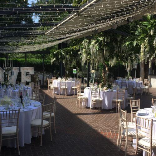 Courtyard summer wedding set up
