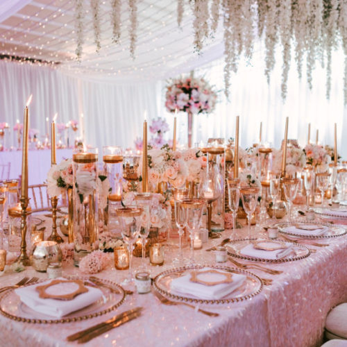 Pink & Gold Wedding dining theme