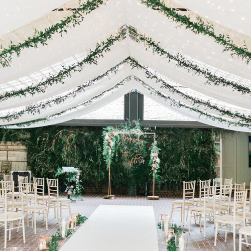 Wedding ceremony set up with marquee
