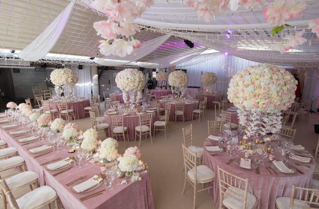 Wedding Marquee set up with pink theme