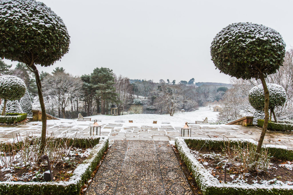 Delamere Manor covered in snow