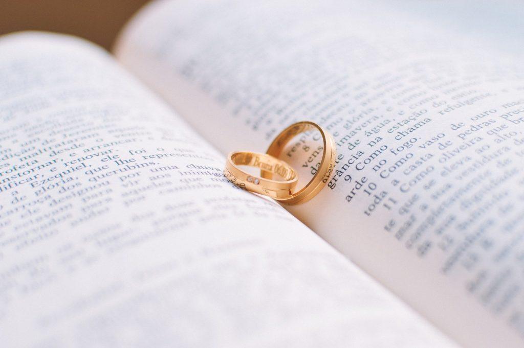 wedding rings in book