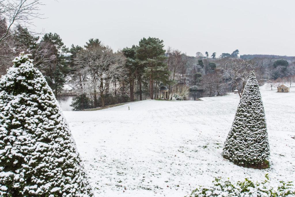 Delamere Manor Garden with snow