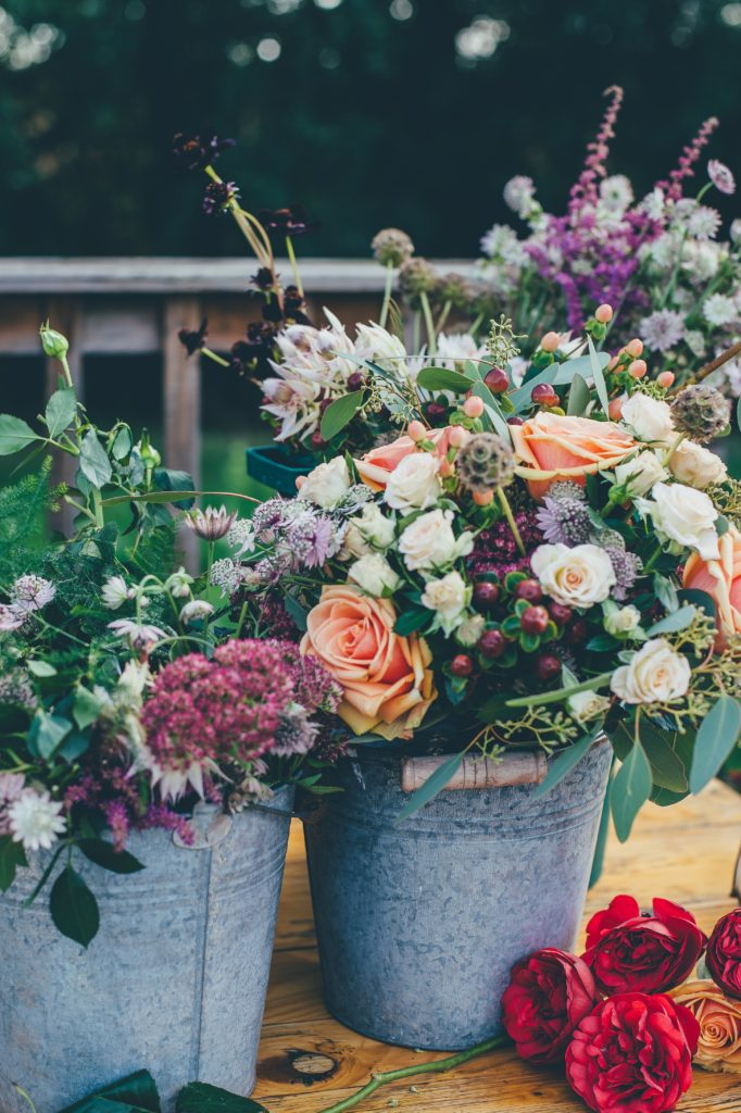 Wedding Flowers outdoor in a plant pot