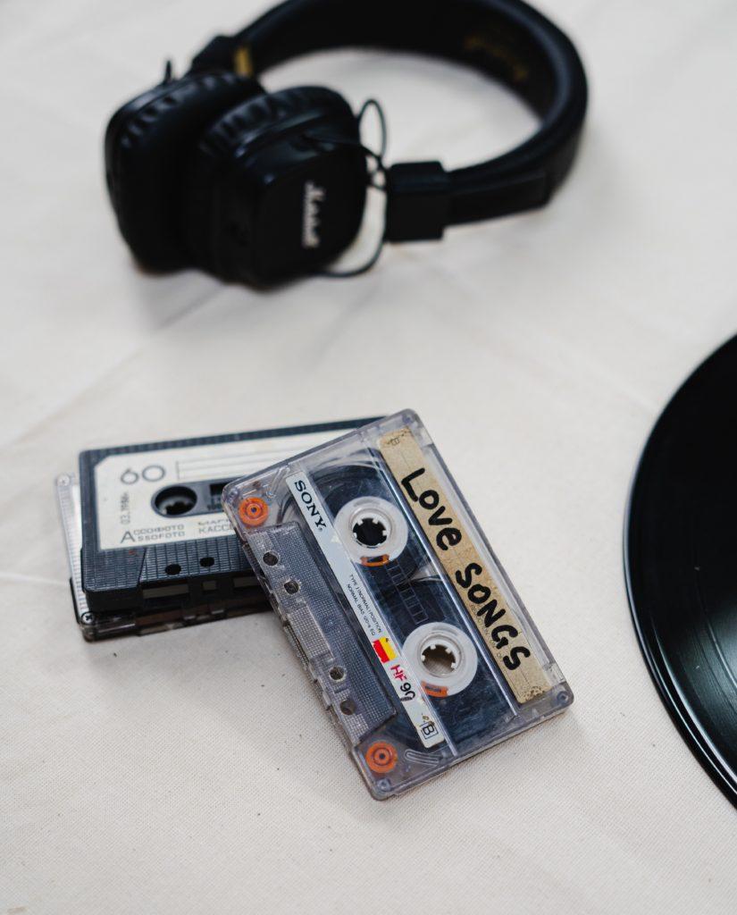 mix tape with headphones