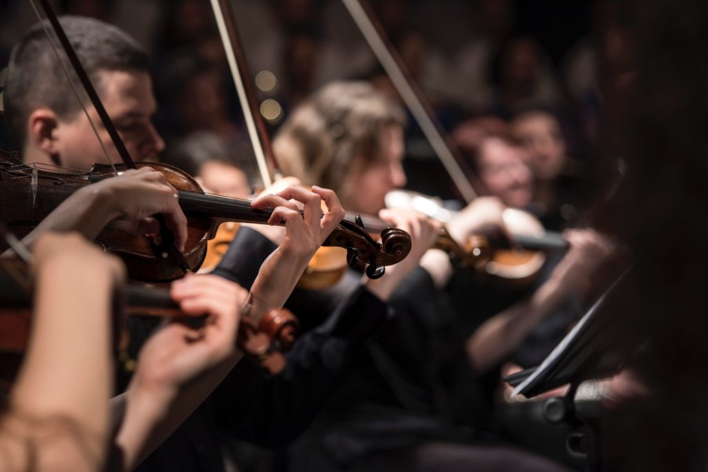A string quartet playing