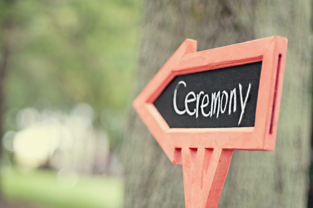 wedding signage pointing to ceremony