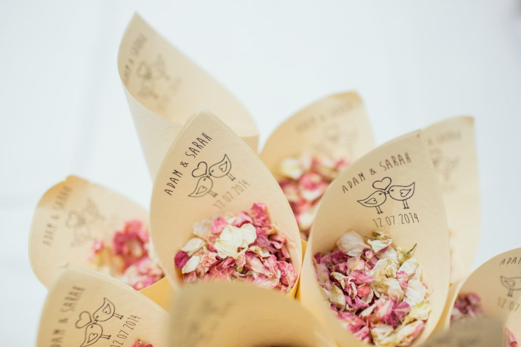 Adam and Sarah branded wedding confetti.