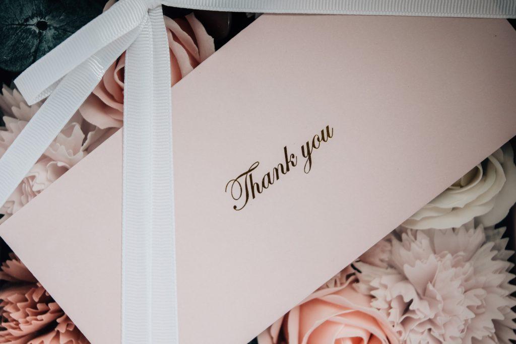 Image describes a thank you note.